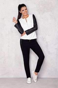 Womens White and Black Long Sleeve Jacket