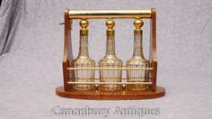 French Antique Tantalus Liquor Decanter Glass Gold Leaf Baccarat