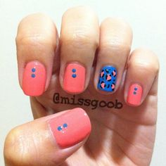 Bright coral nails with blue leopard accent! - @missgoob- #webstagram
