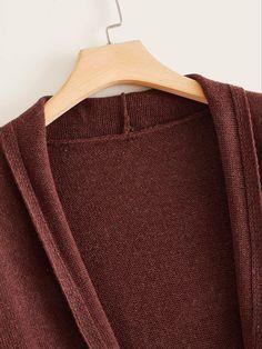 SheIn / Plus Open Front Pocket Fringe Hem Cardigan Plus Size Cardigans, Long A Line, Fall Winter, Men Sweater, Longline Cardigan, Pocket, Long Sleeve, Casual, Fabric