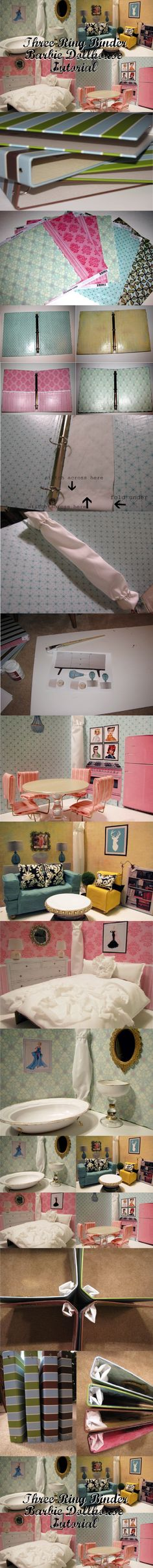 Three ring binder Barbie doll house - inexpensive, compact, cute!  I like this idea but for my son to create different boyish scene backgrounds for stop motion movies!