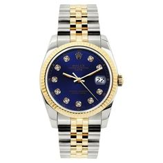 Pre-owned Rolex Date Stainless Steel and Gold Blue Diamond Dial 34mm... (223.190 RUB) ❤ liked on Polyvore featuring jewelry, watches, gold jewellery, unisex watches, gold diamond jewelry, gold wristwatch and blue dial watches