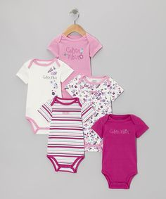 Take a look at this Pink Flower Branded Bodysuit Set by Calvin Klein Underwear on #zulily today!