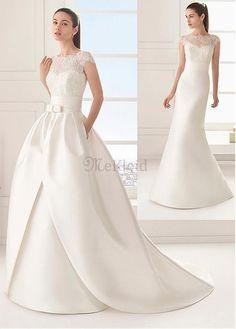 Gekappte Ärmel Natürliche Taille Perlenstickerei Schick $ Modern Bateau Brautkleid - Bild 1