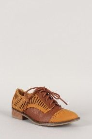 Qupid Vinci-22 Perforated Lace Up Oxford Flat ahhhhh love these $27.20