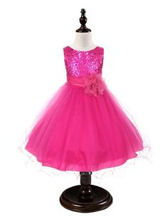 Hot Pink Sequined Bodice Dress w/mesh overlay