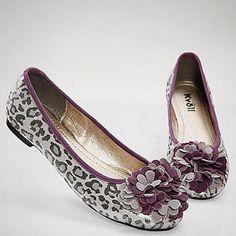 purple and gray leopard print flats