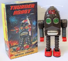 Vintage 1990's Tin Lithographed Battery Operated THUNDER ROBOT ME 200 Space Toy