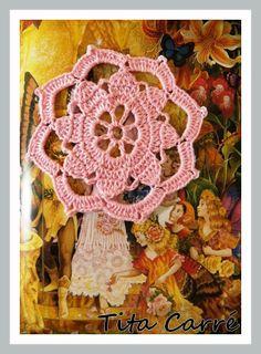 'Tita Carre' Tita Carré - Agulha e Tricot : Motivo floral em rosa