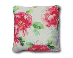 Pink flower watercolor throw pillow satin cushion cover- 20'' from Brick House Fabric: Novelty Fabric