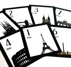 Travel Wedding Table Numbers Single Sample by ShannaMicheleDesigns