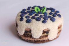 Needle Felted Blueberry Cream Cake Needle Fleted Food Cream