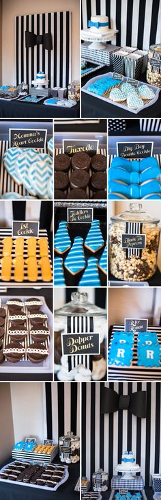 A Dapper 1st Birthday Party...I'd make the food more healthy, but super cute idea!