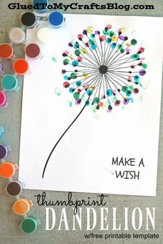 Thumbprint Dandelion - Kid Craft - this idea would be a great gift for a teacher., Diy And Crafts, Thumbprint Dandelion - Kid Craft - this idea would be a great gift for a teacher or a DIY project for grandparents! Crafts To Do, Painting Crafts For Kids, Art And Craft, Toddler Painting Ideas, Diy Kids Crafts, Older Kids Crafts, Painting Activities, Adult Crafts, Painting Lessons