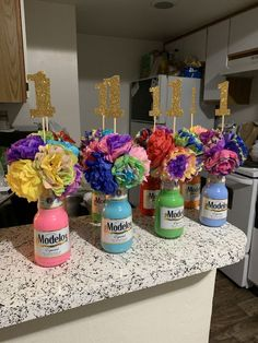 Fiesta Modelo Bottles & Tissue Paper Flowers 🥰 - B-after Mexican Theme Baby Shower, Mexican Fiesta Birthday Party, Fiesta Theme Party, 18th Birthday Party, Birthday Ideas, 21 Party, Mexican Party Decorations, Birthday Party Decorations, 21st Birthday Centerpieces