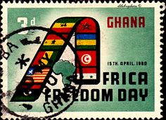 "Ghana.  AFRICA FREEDOM DAY, APR 15.  FLAGS FORMING ""A"" & MAP.  Scott  75 A22, Issued 1960 Apr 15,  Wmk325.,  3. /ldb."