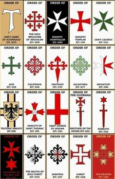 Medieval military religious orders, with cross style, and creation date of the various orders. Knights Hospitaller, Knights Templar, Saint Lazarus, Masonic Symbols, Medieval Symbols, Mayan Symbols, Viking Symbols, Egyptian Symbols, Viking Runes