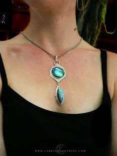 Mechanical Two Piece Labrodorite Pendant by CabrinaChanning, $195.00