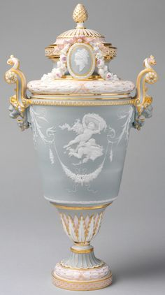Vase with Cover Sèvres Manufactory 1883–85 French (Sèvres) porcelain combining elements of rococo and neoclassical styles The vast and diverse production of the Sèvres factory in the nineteenth century resists easy characterization, and its history during this period reflects many of the changes affecting French society during this tumultuous century. (Sèvres Porcelain in the Nineteenth Century The Metropolitan Museum of Art)