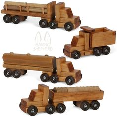 WOOD TOY TRAIN w Engine Tanker Passenger Log Caboose Car Homeschool Waldorf PLAY