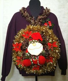 88e0b4b490e Ugly Christmas Sweater size extra Large Santa by stealofadeal