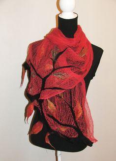 Nuno Felt Scarf, wrap OOAK Wearable Art,  Summer Shawl, Scarf 2012. $55.00, via Etsy.