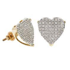 Diamond Heart Shape Women Stud Earrings in 10k Yellow Gold (0.33 ctw)