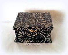 Decorative Box featuring Black & Tan Batik Flowers OOAK, Keepsake Box, Boho Island Decor, Mixed Media Collage, Handcrafted Heirloom Gift