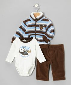 Take a look at this Blue & Brown Helicopter Jacket Set - Infant by BOYZ WEAR on #zulily today!