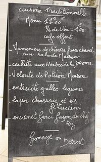 Love chalkboard restaurant menus in other languages.  Would love one in a kitchen/dining room.