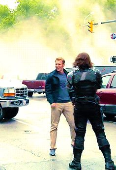 Chris Evans and Sebastian Stan preparing to film a scene for Captain America: The Winter Soldier (gif)