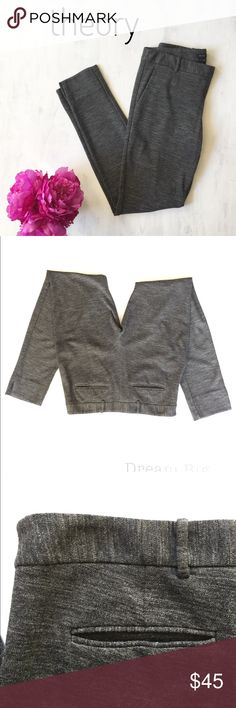 """Theory BELISSEN pants gray size 6 Beautiful pants in charcoal gray. Size 6. Zipper side. Belted waist. 2 working front slit pockets. 2 fake slit pockets on back. Slight split detailing on ankle. Excellent condition. No tears or stains.   16"""" Waist  31"""" Inseam 9"""" rise Theory Pants"""