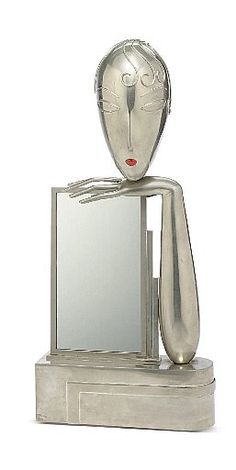 Art Déco Franz Hagenauer Table Mirror - 1930's - Nickeled-Metal and Enamel - Christie's - @~ Mlle