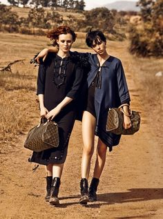 "Louis Vuitton's ""The Spirit of Travel"" campaign, starring models Karen Elson and Edie Campbell and photographed by Peter Lindbergh."