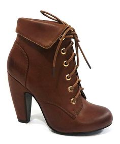 Chestnut Mozza Lace-Up Bootie | zulily