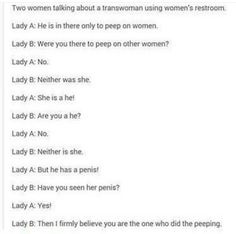 Two women talking about a trans woman using the bathroom.