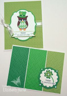 Stampin' Up! Owl Punch, Argyle & Chevron embossing folders. Little owl vest made with Beyond Plaid stamp set Cricut Cards, Stampin Up Cards, St Patricks Day Cards, Saint Patricks, Owl Punch Cards, Owl Card, St Paddys Day, Scrapbook Cards, Scrapbooking