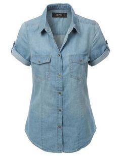 Light Blue Chambray Button Down Chambray, Short Sleeve Denim Shirt, Denim Top, Dress Codes, Fashion 2020, Latest Fashion For Women, Jeans Style, Boho Fashion, Shirts