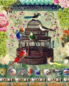 My popular 'Bird & Flower Market' 💕🦋🕊🌿#louisehilldesign #ilovehk #birdandflowermarket #graphicdesign #artistsoninstagram #birdcage #birdfeeder #etching #gicleeprint #homedecoration #homedecor
