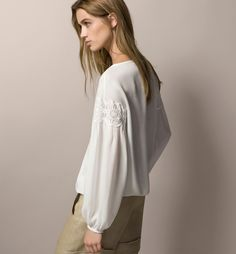 TOP WITH GUIPURE LACE DETAIL - Shirts & Blouses - WOMEN - United States - Massimo Dutti