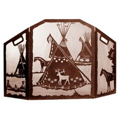 Today, enjoy deals anywhere up to on Western furniture at Lone Star Western Decor, like this Tepee Village Fireplace Screen! Native American Projects, Native American Art, American Indians, Southwestern Decorating, Southwest Decor, Western Furniture, Art Furniture, Wood Joinery, Fireplace Screens