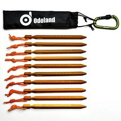 Y-shaped Scale Odoland Tent Peg 10PCs Tent Nail//Tent Stake with reflective Rope for Outdoor Camping,Beach and Sand lightweight durable anodized Alumina Carabiner