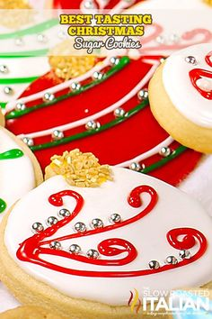 Christmas sugar cookies (also known as cut out cookies) are a family tradition. This simple recipe for the perfect dough stays put (doesn't spread) and tastes amazing! A sweet cookie that is slightly crispy on the edges and soft and chewy throughout with the fabulous flavors of vanilla and almond. Not to mention, aren't they the prettiest cookies you have ever seen? #ChristmasCookies #SugarCookies
