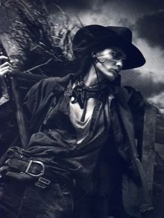 Vogue Paris adds a narrative spin to its April issue with David Sims' western inspired story starring Isabeli Fontana. Styled by editor-in-chief, Emmanuelle Alt, Isabeli is a true cowgirl who is not afraid to get dirty in the denim laden wares of Gareth Pugh, Dries van Noten, Giorgio Armani and others.