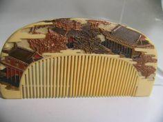Comb [] Kotsuki antique ivory castle this sculpture gold Makie (obi hairpin) _ image 1