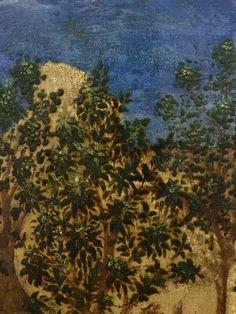 """GIOVANNI FRANCESCO DA RIMINI (Attribué),1440-50 - Vie de la Vierge, La Fuite en Egypte (Louvre) - Detail 41  -  TAGS / details détail détails painting paintings peintures """"peinture 15e"""" """"15th-century paintings"""" """"Moyen Âge"""" """"Middle age"""" Museum Paris France Italie Italy Italia Bible prière prayer Bless sacred holy blessed Virgin Jésus Jesus Enfant Child kid family famille """"St Joseph"""" """"da Rimini"""" trône throne âne donkey animal animals animaux basket panier voyage trip foliage feuillage nature"""