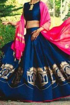 88476fcad0e8ea Banglori Silk And Net Lehenga Choli In Navy Blue And Pink Colour NC4108 Product  Code