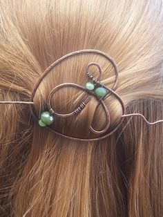 Copper, hair pin. hair clip, hair barrette, wire, hammered, oxidized, beaded, green