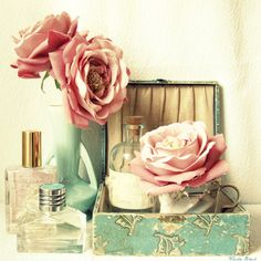 flowers, pale turquoise, pink, and corked bottles - so many of my loves in one photograph