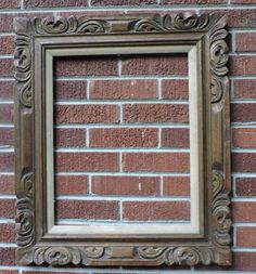 Vintage MEXICAN Carved WOOD Burnished Gold BROWN Picture Frame 16 x 20 c1960s #Mexican #Unknown